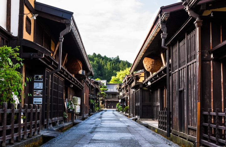 Traditional wooden buildings on empty street