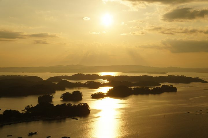 Sunset over the scattered pine-covered islands of Matsushima Bay
