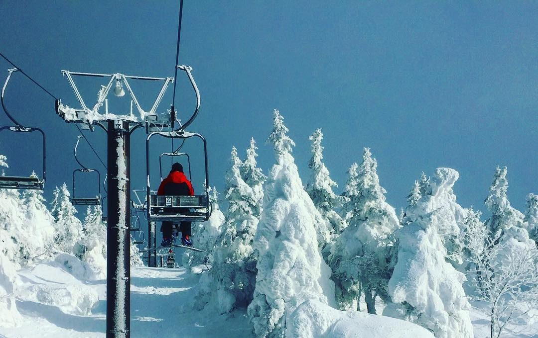 Single skier in red jacket rides the ski lift at Zao Onsen, with snowed trees at either side