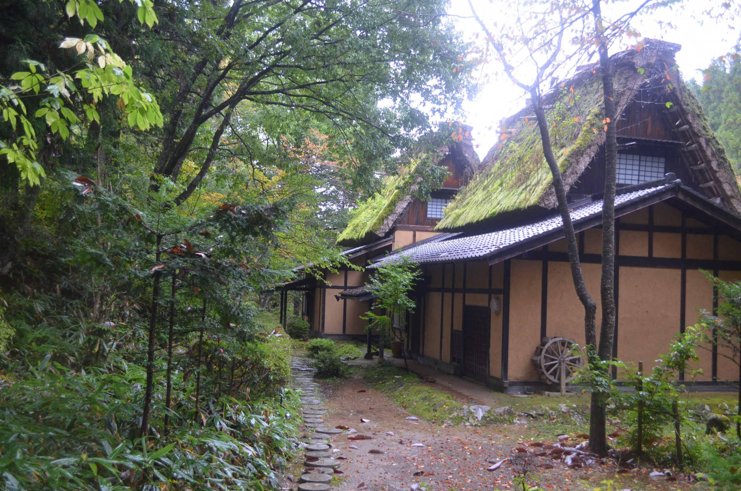 The thatched roof of the Wanosato ryokan