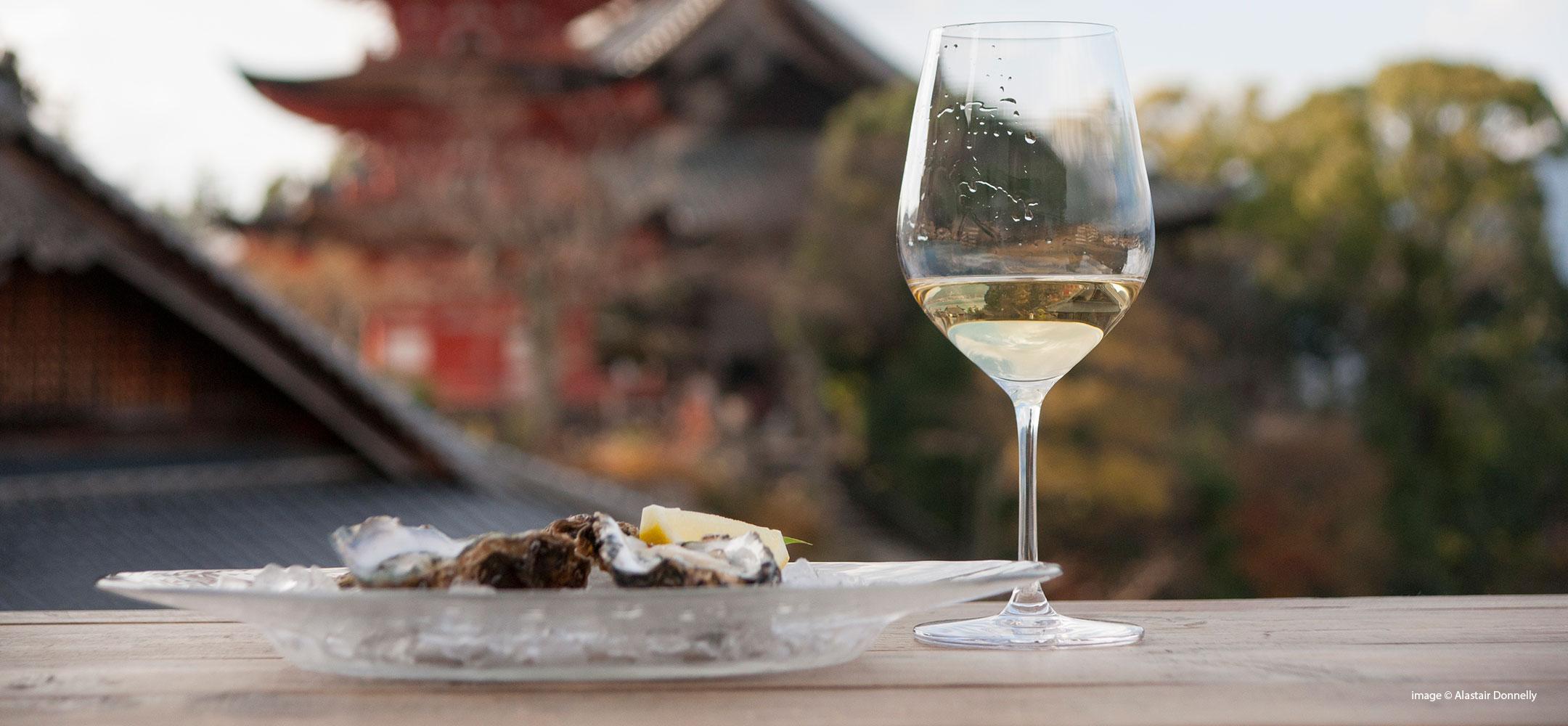 Oysters and Chablis on Miyajima