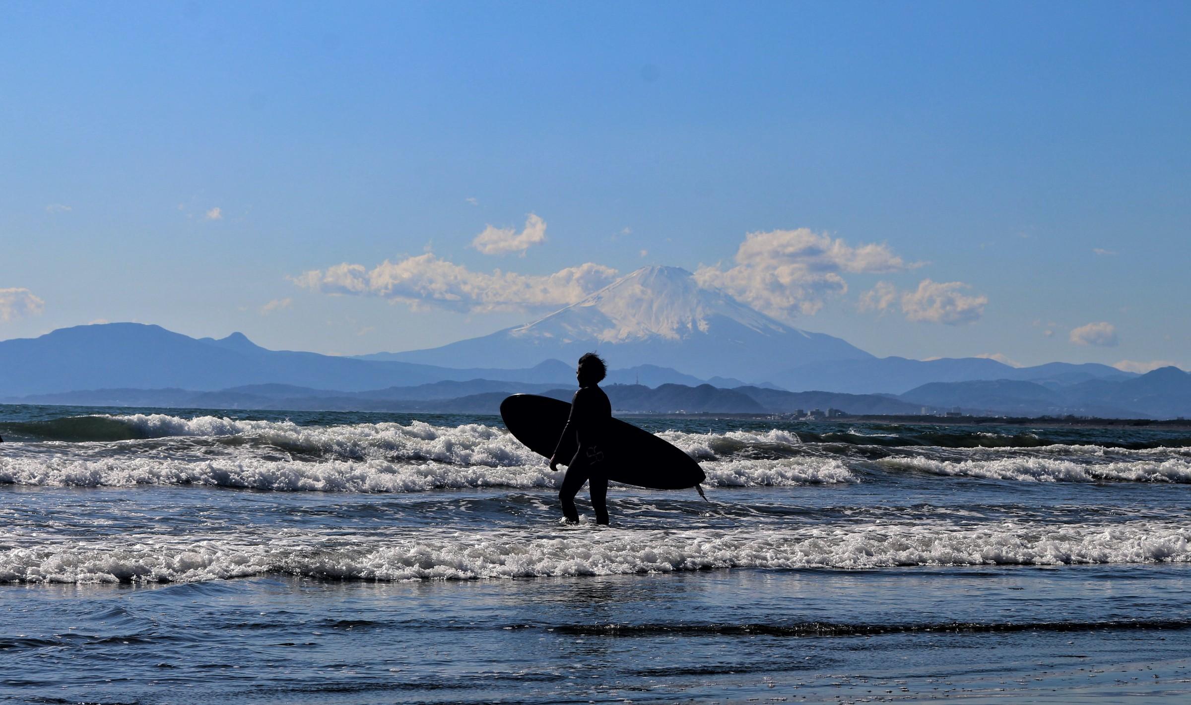 Surfing in Enoshima, Japan