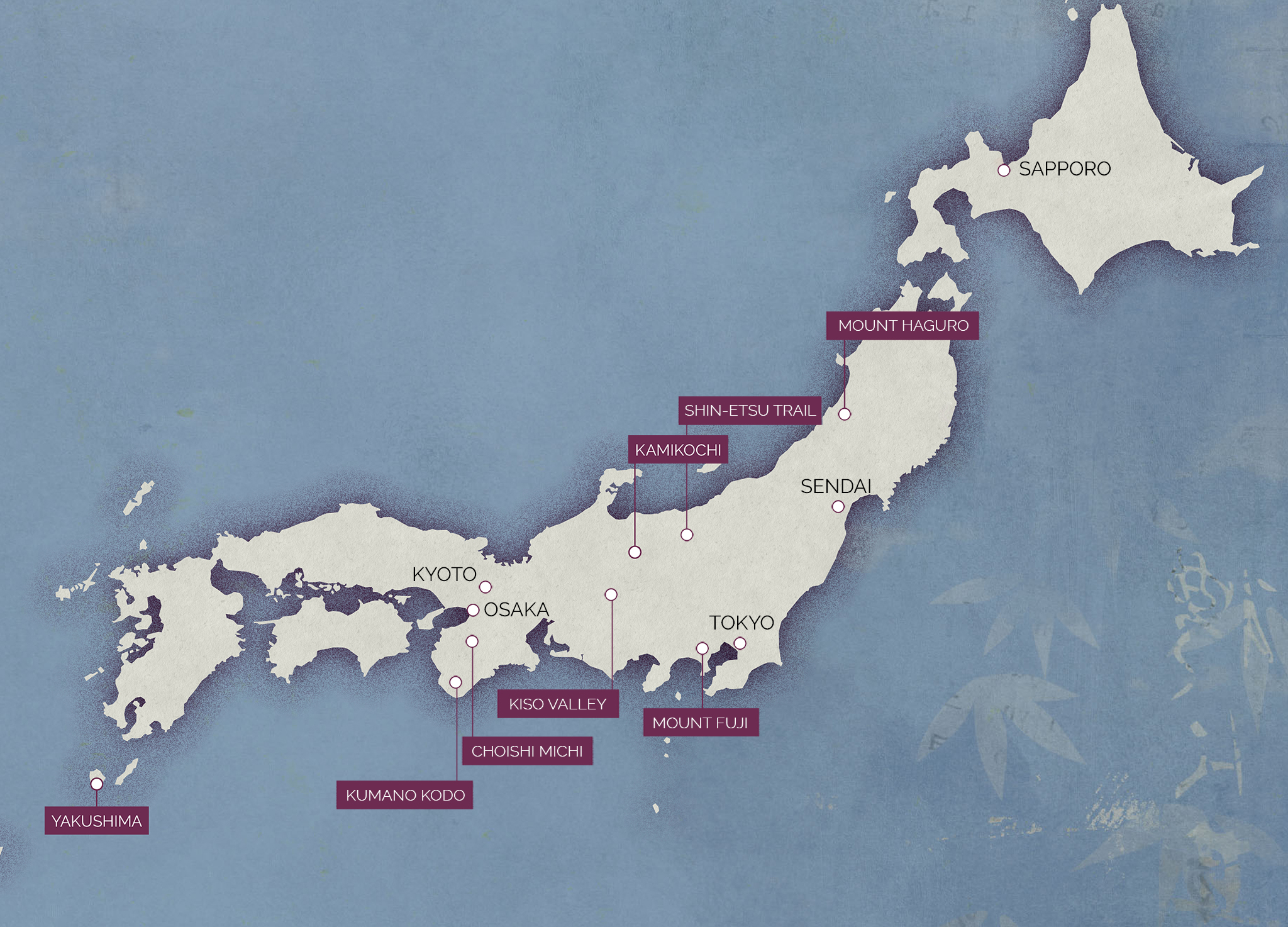 Map of the best hiking trails in Japan