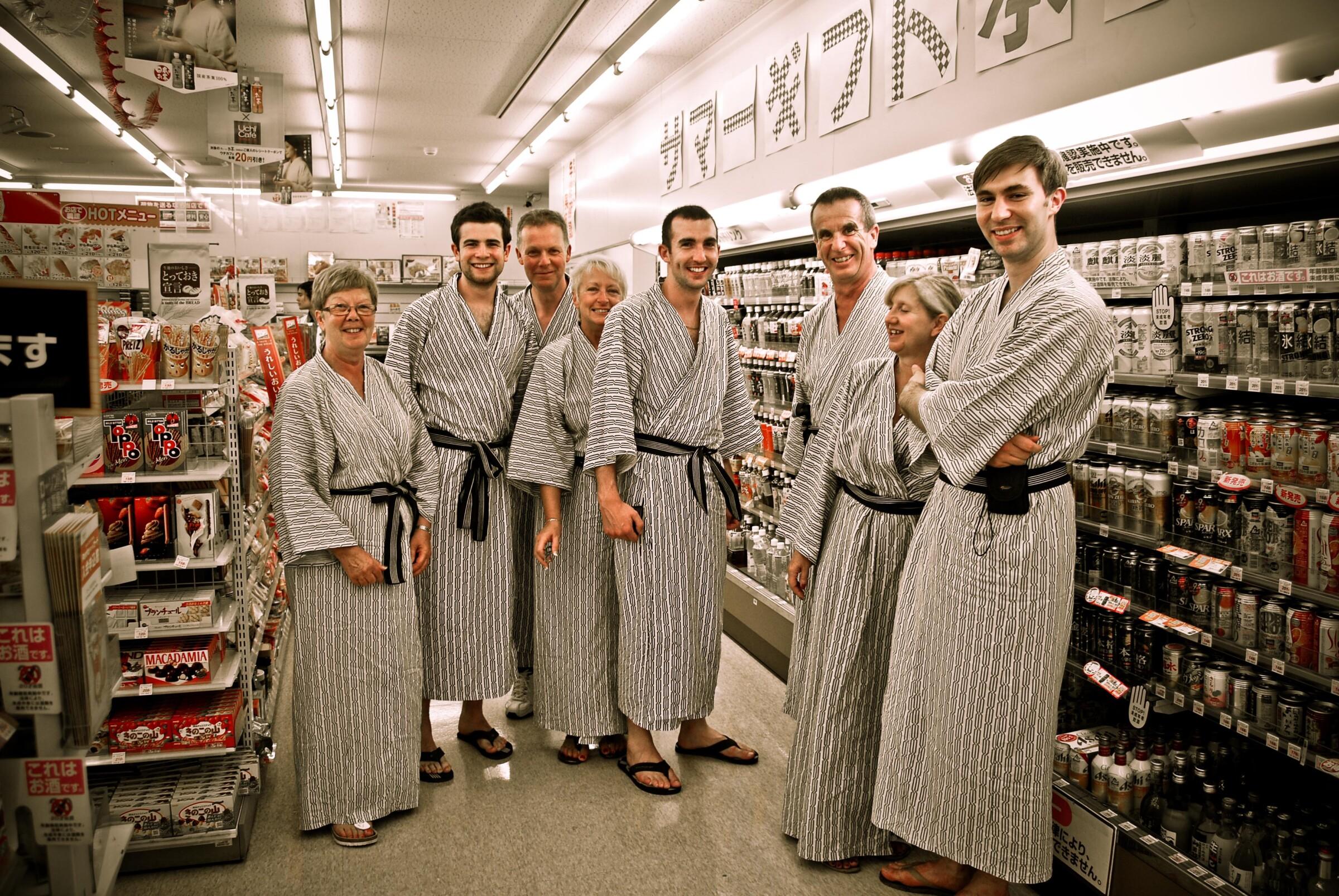 An InsideJapan tour group wearing yukata robes
