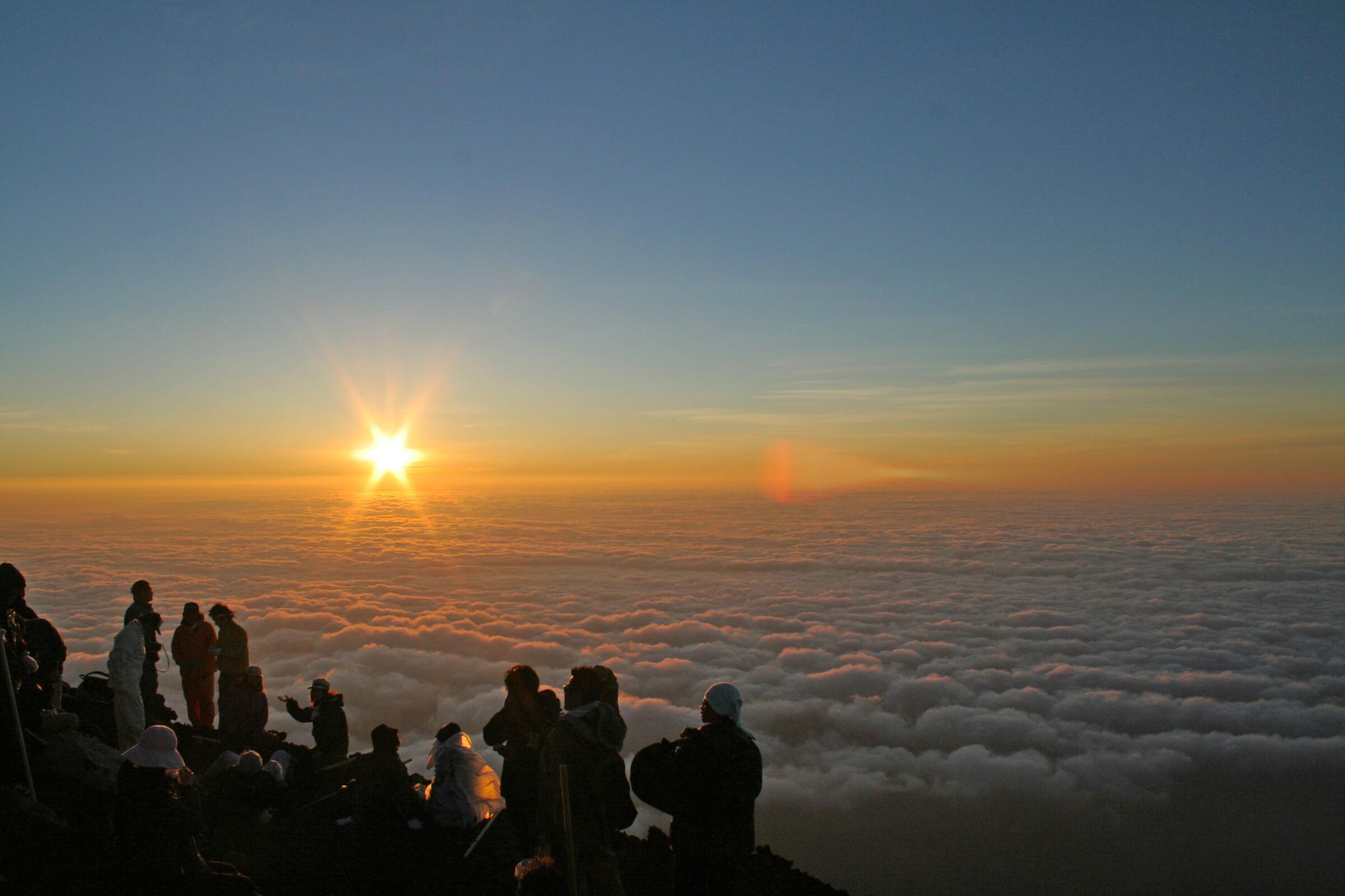 Sunrise at the top of Mount Fuji